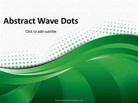 abstract green wave dots powerpoint template