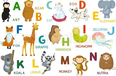 animals abc letter   cartoon characters animals