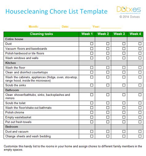 House Cleaning Chore List Template (weekly) Dotxes