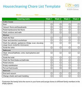 house cleaning chore list template weekly dotxes With house chores checklist template