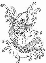 Fish Coloring Coy Koi Drawing Drawings Tattoo Kidsplaycolor sketch template