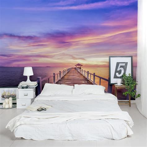 how to decorate office at pier sunset wall mural