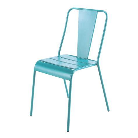 chaise de jardin en metal bleue harrys maisons du monde