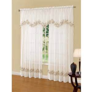 White Kitchen Curtains Valances by Cavalier Lace Scalloped Valance Walmart Com