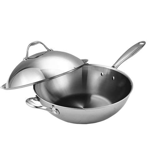 top quality tri ply clad stainless steel wok pan