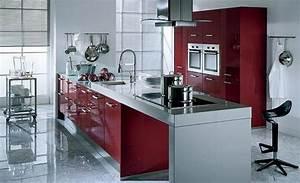 cuisine rouge avec mur gris With maison grise et blanche 8 cuisine rouge mur couleur chaios