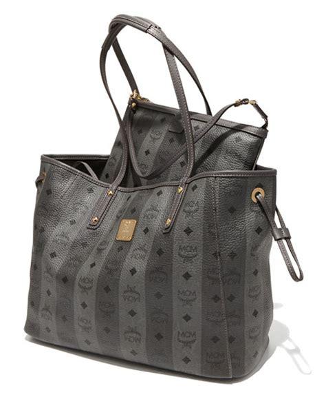 mcm shopper project reversible tote bag gray stripe