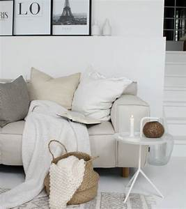 salon blanc et beige un coin douillet et paisible domine With tapis de marche avec fouta jeté de canapé