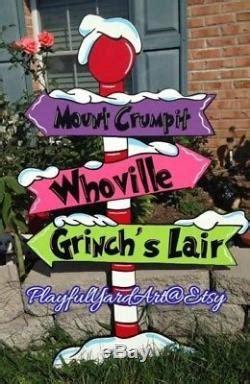 grinch whoville sign yard art decoration