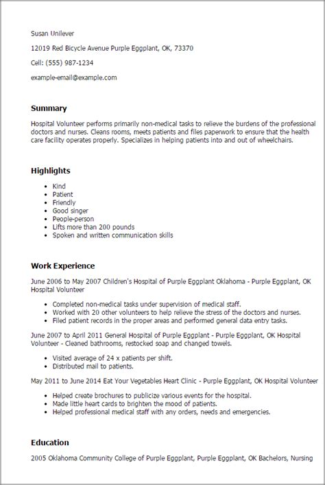 volunteer work resume samples professional hospital volunteer templates to showcase your