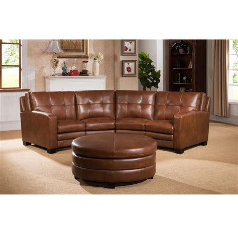 brown sectional with ottoman oakbrook brown curved top grain leather sectional sofa and
