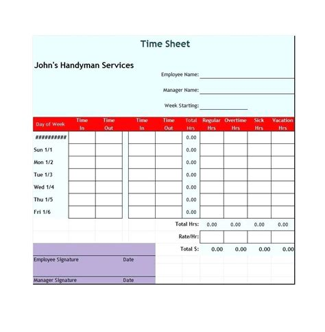 excel timesheet templates daily template in excel
