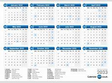 Calendar 2033