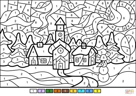 Winter Town Color by Number Free Printable Coloring