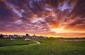 Nature, Landscape, Photography, Sun, Rays, Town, Sunset, Sky, Clouds, Boat, Colorful, Uk, Wallpaper, And