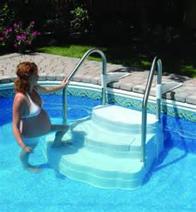 lumio oasis drop in pool steps with stainless steel handrails ne102