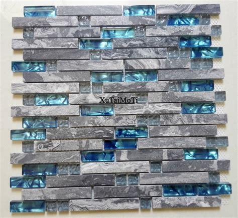 pcs gray marble mosaic blue glass tile kitchen