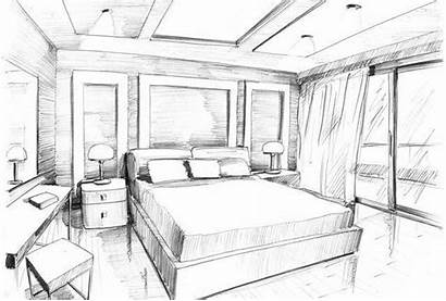 Bedroom Sketches Sketch Interior Master Perspective Bedrooms
