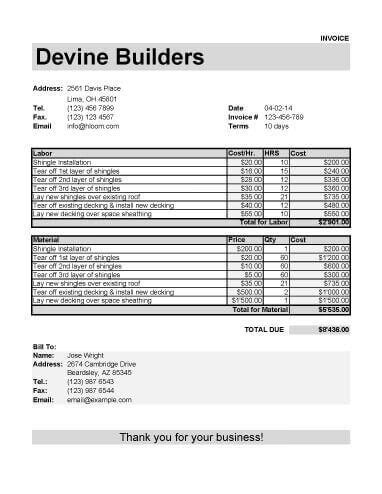 roofing invoice template  labor  material tools
