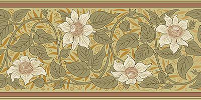 victorian floral wallpaper frieze clematis bradbury