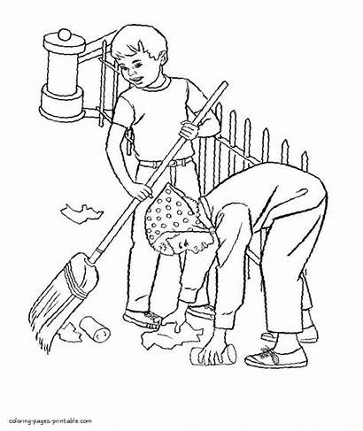 Coloring Cleaning Pages Debris Clipart Near Printable