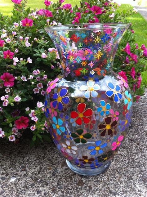 glass painting flower vase unavailable listing on etsy