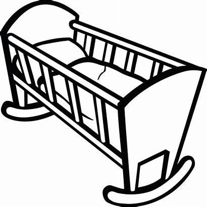 Crib Clipart Cradle Drawing Cot Clip Coloring