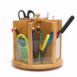 Lipper, Bamboo, Revolving, Desk, Organizer, With, Clear, Glass, Panels, At, Hayneedle
