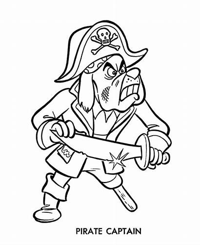 Coloring Cartoon Pirate Pages Pirates Captain Sheets