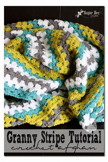 Crochet Granny Throw Stripe Blanket Crafts Notey