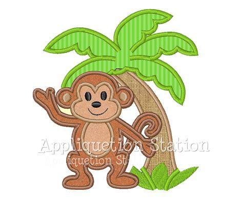 monkey applique monkey palm tree tropical applique machine embroidery design