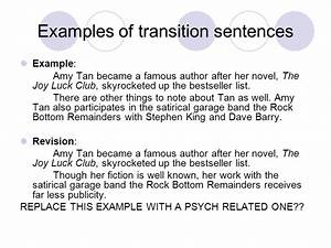 a transition sentence example