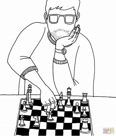 Ajedrez Xadrez Desenho Colorir Szachy Jogador Dibujos
