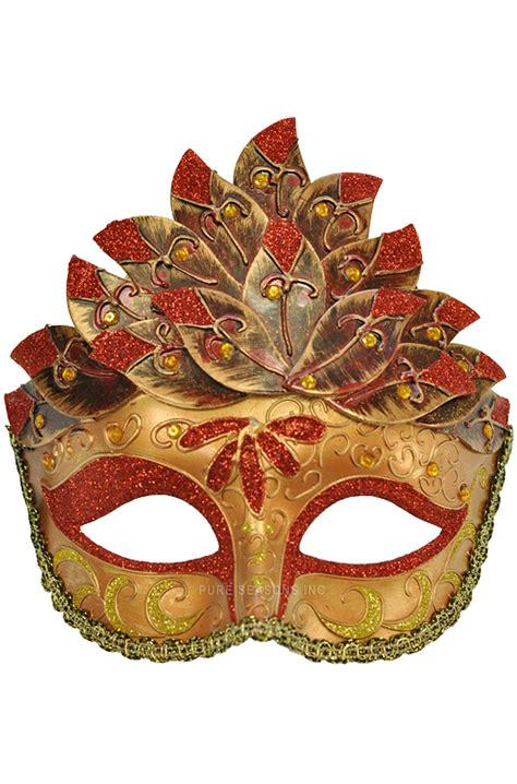 colombina leaf venetian mask red purecostumescom