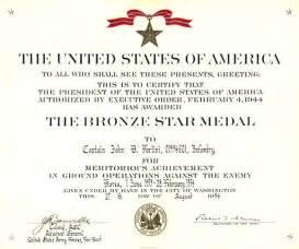 Bronze Star Medal Certificate