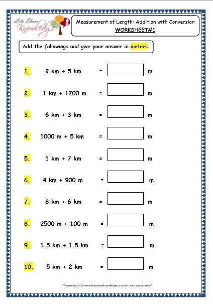 all worksheets 187 measurement conversion worksheets grade 3
