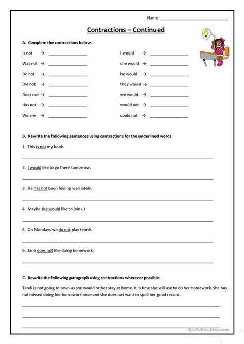contractions worksheet  esl printable worksheets