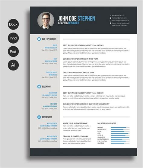 Graphic Designer Resume Template Microsoft Word by 12 Free And Impressive Cv Resume Templates In Ms Word