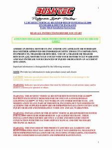 Honda Goldwing Gl1800 Hitch Installation Guide Bushtec