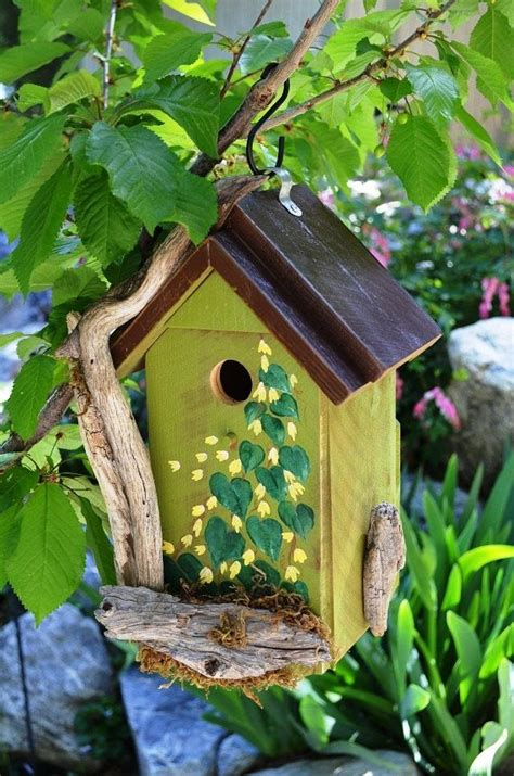 birdhouse rustic driftwood painted flowers leaves