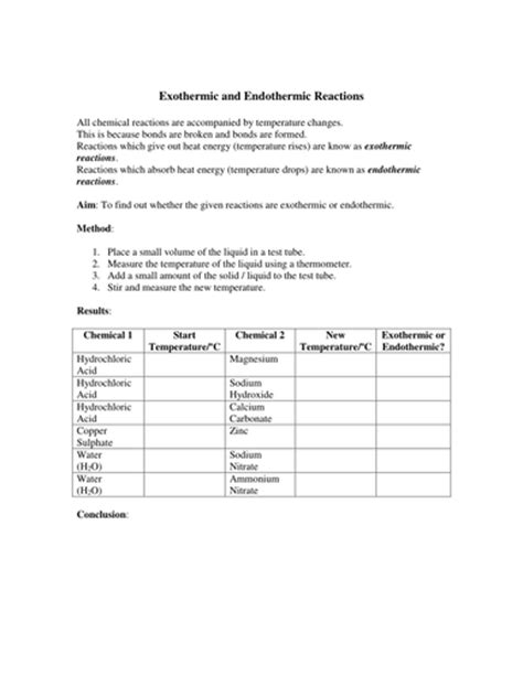 exothermic and endothermic reactions experiment by