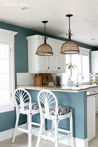 my fresh new blue kitchen reveal the wicker house With kitchen colors with white cabinets with surfer wall art