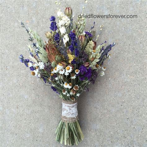 Purple Dried Flower Wedding Bouquet Natural Rustic Preserved