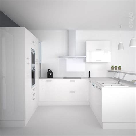 cuisine toute blanche cuisine blanche moderne façade stecia blanc brillant