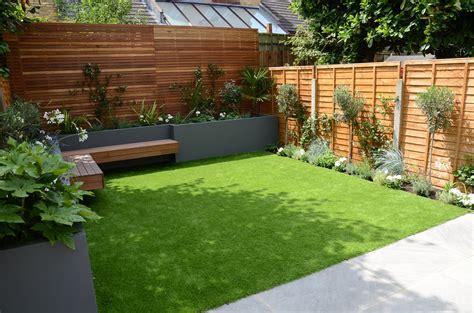 Small Garden Design Fake Grass Low Mainteance Contempoary