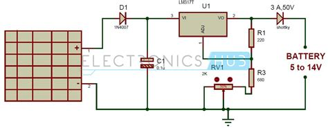 solar battery charger circuit  lm voltage regulator