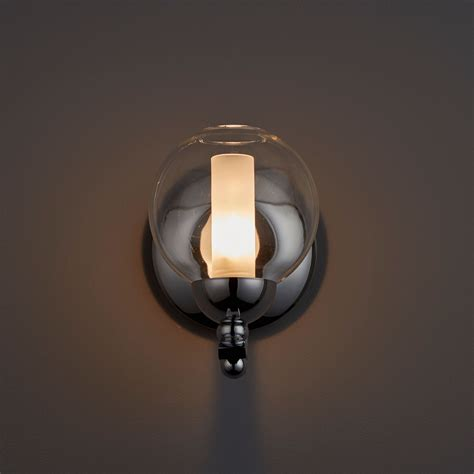 giselle white polished chrome single wall light