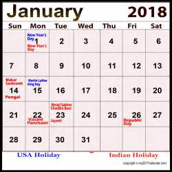 holidays calendar january 2018 for free printable monthly calendars