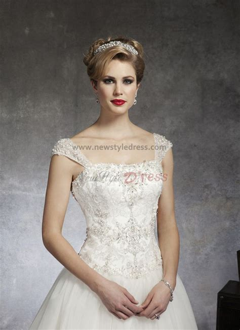 Sheer Straps Scoop Chest Appliques Sweep Train Glamorous ...