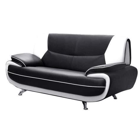 spacio canap 233 droit 2 places noir et blanc achat vente canap 233 sofa divan pvc panneaux